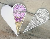 "INSTANT DOWNLOAD Mother's Day Card Coloring card printable ice cream cone classroom coloring activity ""Mom I love you more than ice cream"""
