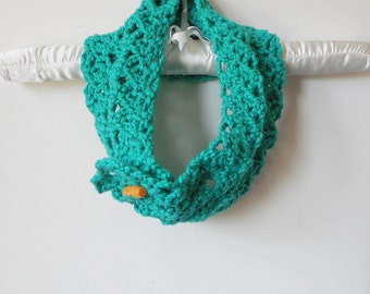 Diamond Lace Button Up Cowl in Jade,  ready to ship.