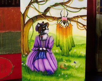 Little Miss Muffet and Miss Spider Knitting 5x7 Greeting Card