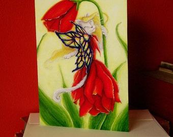 Tulip Fairy Cat Fantasy Art 5x7 Blank Greeting Card