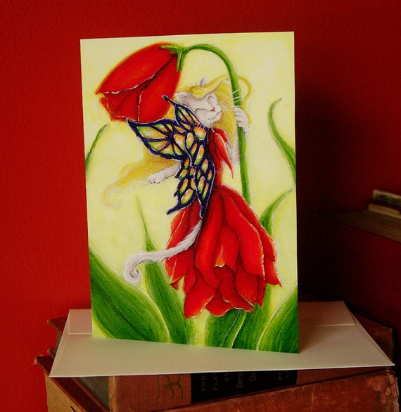 Tulip Fairy Cat Fantasy Art 5x7 Blank Greeting Card
