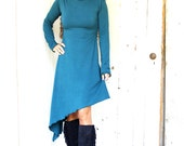 CUSTOM LISTING - Shorter Version/Custom Sleeves - Firewalker Hooded Dress - Organic Clothing - Made to Order - Many Colors Available