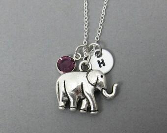 Elephant Necklace - Handstamped initial personalized name, Customized Swarovski crystal birthstone