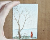 the fox and the lake watercolor aceo mini painting