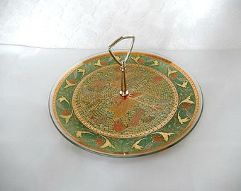 vintage serving tray, Hollywood Regency, 1950's, green with gold decor, serving