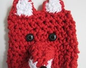 Coffee Cozy Sleeve Red Fox Crocheted Cotton Travel Mug Included