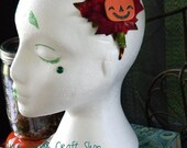 Child Sized Super Cute and Happy Jack o Lantern Headband with Autumn Leaves