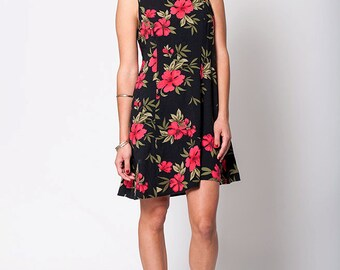 The Vintage Black and Pink Hawaiian Print Hibiscus Floral Grunge Summer Dress