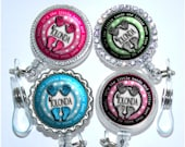 Badge Holder - Personalized NICU Badge Reel with Polka Dots in 6 Colors, Pediatric Badge Reel (A143)