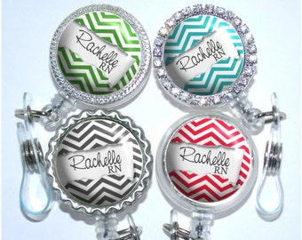 Retractable Badge Holder - Personalized Ripped Chevron Paper Nurse Badge Reel in 6 Colors (A260)