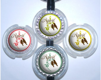 Stethoscope Tag - Personalized Love Birds Stethoscope Id, Bottle Cap Stethoscope Name Tag (A159)