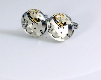 Round Steampunk Cufflinks - Soldered Watch Movement Cufflinks - Steampunk Cuff Links - Round Silver Cufflinks - Vintage Watch Cuff Links