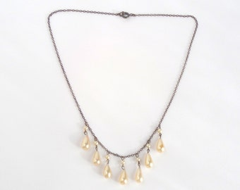 Art Deco Sterling Glass Pearl Necklace. Antique Fringe Bib.