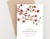 Japanese Floral Garden Save The Date, Bridal Shower, Wedding Invitation