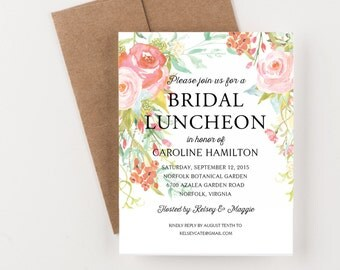 Bohemian Floral Bridal Luncheon Invitation, Bridal Shower or Party Invitation