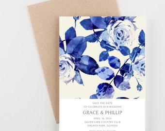 Navy Watercolor Floral Save The Date, Wedding Announcement or Bridal Shower
