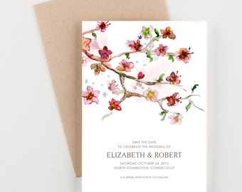Japanese Floral Garden Save The Date, Bridal Shower, Wedding Invitation