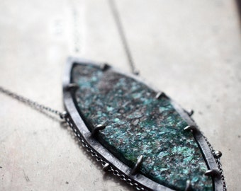 within the rocks hard and cold…rough aventurine in sterling silver necklace