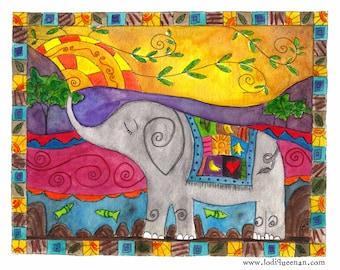 Folk Art Elephant Animal