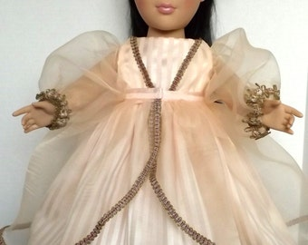 American Girl doll gown in soft peach sateen with an organza overskirt