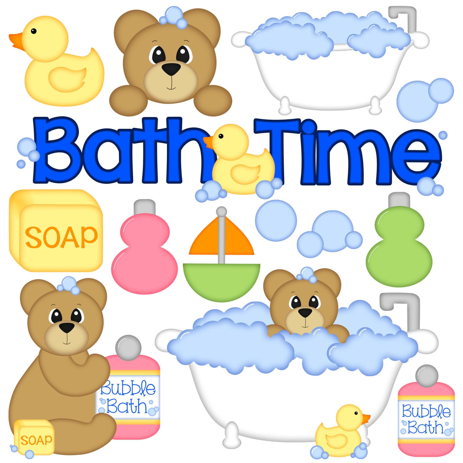 Bath Time Digital Clipart - Set of 14 - Bath Tub, Bear ...
