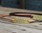 Quiet identity dog collar - Round leather ID tag name plate Identification