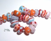 A LITTLE DRAMA Handmade Lampwork Beads- Red Pink Coral Aqua Blue - Organic Rounds - by Desert Bug Designs
