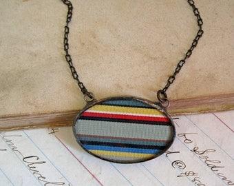 Vintage Grosgrain Ribbon Necklace Stripe Jewelry
