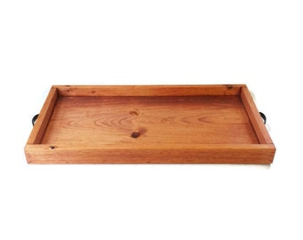 Wood Serving Tray With Handles - Wooden Trays - Rustic Home Decor