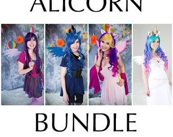 Alicorn Bundle (Wig, Wings, Ears and Horn) - for Cosplay, Parties, Clubbing, Cons, Fun, Halloween Costume