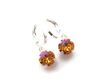 Summer Blush Swarovski Rivoli Crystal Petite Hoop Earrings in Silver, Wedding Jewelry, Simple Earrings, Rhinestone Earrings, Petite Jewelry