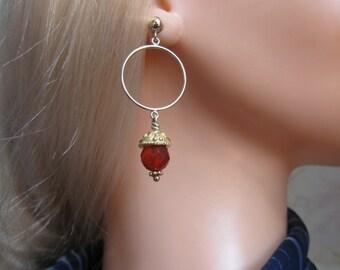 Carnelian Hoop Earrings- Gold Filled, Ornate