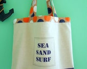 SALE Large Tote or Shopping Bag in a Sea, Sand and Surf Design