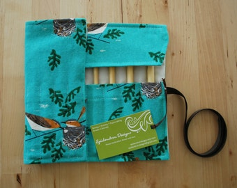 ALMOST GONE Crochet Hook Case / Organizer / Holder - Organic Turquoise Nesting Birds Fabric with Ivory Lining
