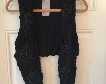 Vest- Black Women's Vest with Beads