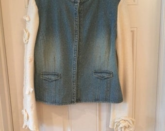 Jacket- Women's Jean Jacket with White Sleeves