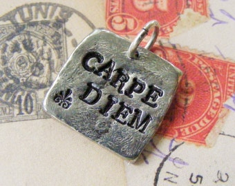 Pewter Hand Stamped Pendant, CARPE DIEM, Teen Gift, Boy or Girl, Silver Black Leather Choker Necklace, Graduation Gift, Seize the Day