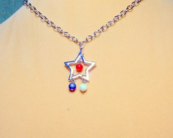 SALE   Red White & Blue Star Necklace / Star Necklace / Patriotic Necklace / 4th of July Necklace / Costa Rican Necklace /