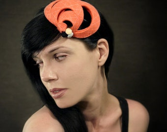 SALE - Tangerine Pink Felt Headband with Geometric Accents- Helix Series