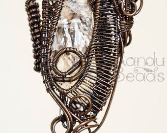 Handmade Wire Wrapped Mixed Metal Steam Punk Pendant with Rough Raw Quartz Citrine Nugget Wire Wrap Jewelry Wire Jewelry Wrapped Jewelry
