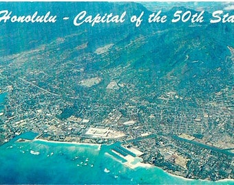 Vintage Hawaii Postcard - Aerial View of Honolulu (Unused)