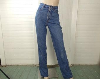 70s High Waist Jeans- 1970s Blue Denim- Straight Leg