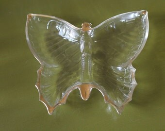 Jeannette Glass Butterfly Trinket Dish 22K Gold Trimmed