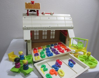 Fisher Price School House with Little People and Playground