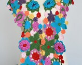 Colorful Girl - Crochet Multicolor Flowers Scarf