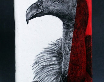 Hand Painted African White-backed Vulture Portrait Wall Tile Red