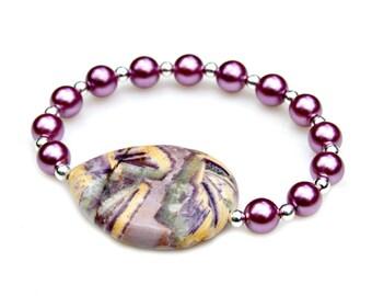 Purple Agate Bracelet, STATEMENT Bracelet, Pearl Bracelet, Purple Flower Agate Beads, Feminine Flare, Lavender, Shabby Chic Style Mei Faith