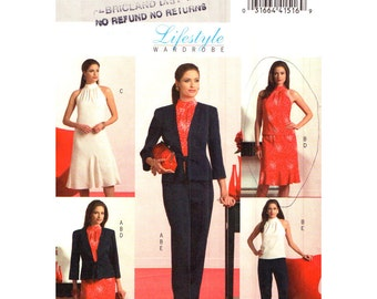 Womens Sewing Pattern Butterick 4996 Princess Seam Jacket, High Neck Top, Flared Godet Dress, Skirt, Pants Women Wardrobe Size 6 to 12 UNCUT