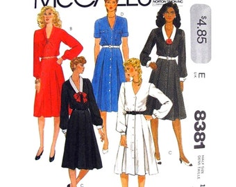 1980s Dress Pattern McCalls 8381 V Neck Shirt Dress Tie Collar Button Front Inverted Pleats Womens Sewing Pattern Bust 39 Half Size UNCUT
