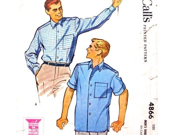 Mens 1950s Shirt Pattern McCalls 4866 Short or Long Sleeve Shirt Chest 38 40 Medium Vintage Sewing Pattern